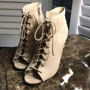 faux suede peep toe lace up ankle boots